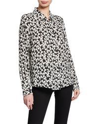 03e4ef1c53078 Karl Lagerfeld - Printed Button-down Long-sleeve Shirt With Pearlescent  Collar Detail -