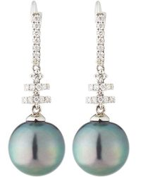 Belpearl 14k Tanzanite & Tahitian Pearl Drop Earrings, 11mm