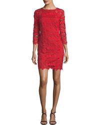 Trina Turk 3d Garden Vine Lace Mini Dress - Red