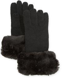 Neiman Marcus Cashmere Gloves W/ Faux Fur Cuff - Black