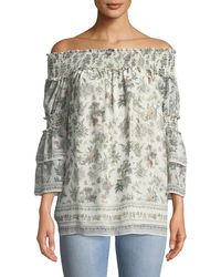 Max Studio - Off-the-shoulder Floral Ruffle-tiered Blouse - Lyst