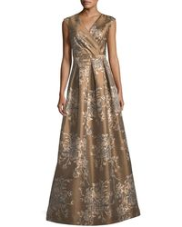 Chetta B | Embroidered Surplice A-line Gown | Lyst