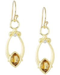 Jude Frances - Open Marquise Fleur Citrine Earrings W/ Diamonds - Lyst