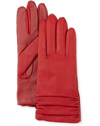 Neiman Marcus - Ruched Leather Tech Gloves - Lyst
