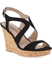 Neiman Marcus Layton Cork Wedge Sandals - Black
