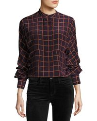 Theory | Perfect Dolman York Plaid Blouse Top | Lyst