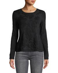 Neiman Marcus - Floral-jacquard Scalloped Hem Sweater - Lyst