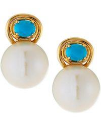 Belpearl - 14k Turquoise & Pearl Drop Earrings - Lyst