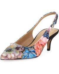 Elie Tahari - Saint Floral Kitten-heel Slingback Pumps - Lyst