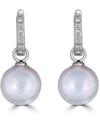 Belpearl 18k White Gold Diamond Convertible White Pearl Earrings 0.31tcw
