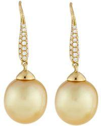 Belpearl 18k Golden South Sea Pearl & Pave Diamond Drop Earrings - Metallic