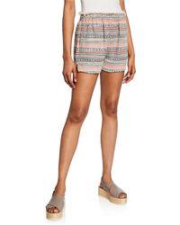 1.STATE Paperbag Tweed Frayed Shorts - White