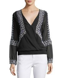 Chloe Oliver - Smocked-waist Embroidered Top - Lyst