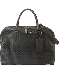 Valentino Perforated Leather Large Travel Briefcase - Black