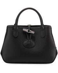 Longchamp Roseau Medium Leather Crossbody Bag - Black