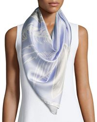 Anna Coroneo - Silk Satin Square Feather Scarf - Lyst