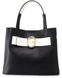 Neiman Marcus Clara Faux Leather Buckle Satchel Bag - Black