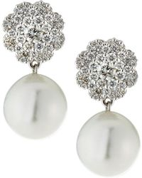 Belpearl - 18k White Gold Diamond-post & White Pearl Earrings - Lyst