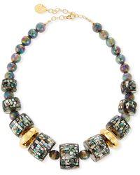 Devon Leigh - Pearlescent & Labradorite Statement Necklace - Lyst