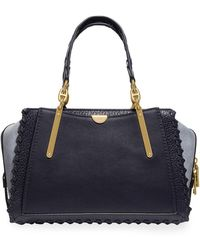 COACH Dreamer Whipstitched Colorblock Leather & Suede Satchel Bag - Blue