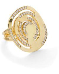 Ippolita 18k Stardust Large Cutout Ring W/ Diamonds Size 7 - Metallic