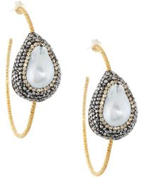 Native Gem Ilume Freeform Pearl Hammered Hoop Earrings - White