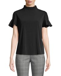 Laundry by Shelli Segal - Smocked-neck Jersey Tee - Lyst