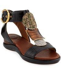 Chloé Wanda Flat Tall Gladiator Sandals - Black