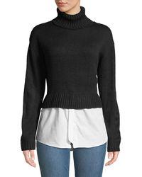 Nicole Miller - Turtleneck Combo Sweater W/ Shirting Hem - Lyst