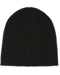 Portolano Cashmere Ribbed Beanie Hat - Black