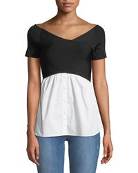 Nicole Miller - Short-sleeve Sweater With Shirttail Hem - Lyst