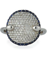 Roberto Coin - 18k White Gold Diamond & Sapphire Round Ring - Lyst