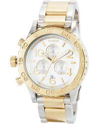 Nixon 42mm 42-20 Chrono Bracelet Watch Silver/golden - Metallic