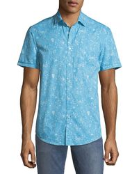 Report Collection - Men's Ocean Paisley Short-sleeve Oxford Shirt - Lyst