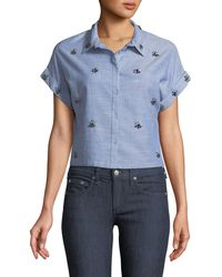 Dex - Cropped Beaded Button-front Shirt - Lyst