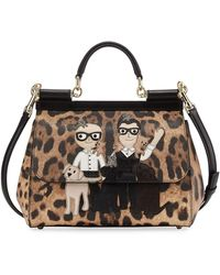 Dolce   Gabbana - Sicily Medium Dg Family Patch Bag Brown black - Lyst a564253801496