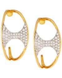 Gurhan | 22k Tuxedo Pavé Half Hoop Earrings | Lyst