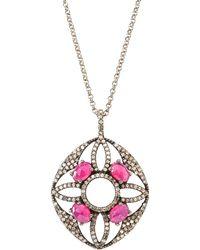 Bavna - Diamond & Glass Ruby Pendant Necklace - Lyst