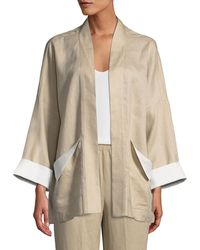 Go> By Go Silk - Open-front Linen Jacket - Lyst