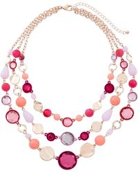 Fragments - Multi-strand Stone Layered Necklace Pink - Lyst