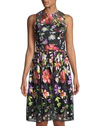 Neiman Marcus - Floral-embroidered Fit-&-flare Illusion Dress - Lyst