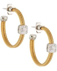 Alor - Classique Steel & 18k Diamond Cable Hoop Earrings - Lyst