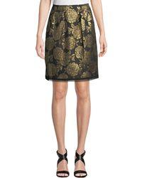 Nanette Nanette Lepore Foiled Jacquard Pleated Skirt - Metallic