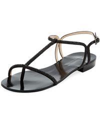 Pelle Moda - Becca Crystal T-strap Sandal - Lyst