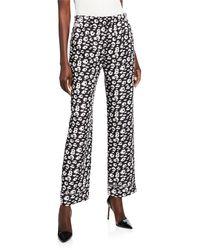 Brandon Maxwell Cheetah-print Shantung Pyjama Pants - Black