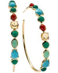 Ippolita - 18k Gold Rock Candy Mini Gelato #4 Hoop Earrings In Riviera Sky - Lyst