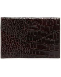 Graphic Image Medium Crocodile-embossed Leather Gusseted Envelope Case - Brown
