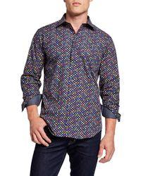 Bugatchi Men's Shape-fit Sports Shirt - Blue