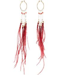 Nakamol - Long Feather Dangle Hoop Earrings - Lyst