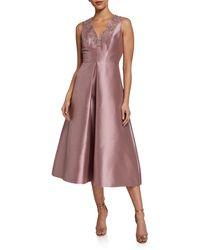 THEIA Beaded V-neck Tea-length Dress With Pockets - Purple